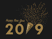 Golden Happy new year 2019 with party popper confetti on  back background, Vector illustration