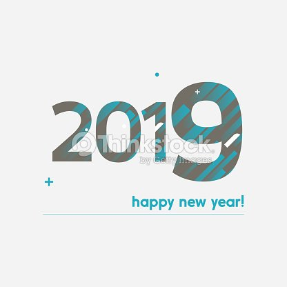 Happy New Year 2019 Vector Illustration Bold Text With Creative ...