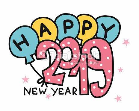 happy new year 2019 word and balloon vector illustration vector art