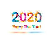 Congratulation vector card. Happy New Year 2020