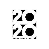 Happy New Year 2020 logo text design. Cover of business diary for 2020 with wishes. Brochure design template, card, banner. Vector illustration. Isolated on white background.