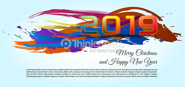Happy new year and merry christmas 2019 color splash vector light background stock vector - New years colors 2019 ...