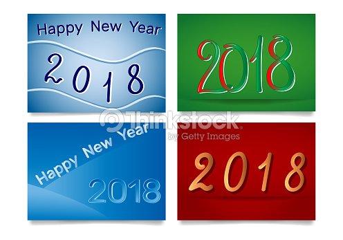 2018 Feliz Ano Nuevo Y 2018 Mil Juego De Tarjetas Arte Vectorial