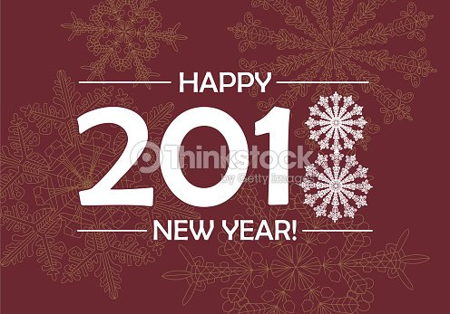 happy new year background template with hand drawn snowflakes and numbers 2018 vector art
