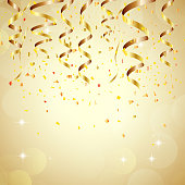 Illustration of Happy new year background with golden confetti