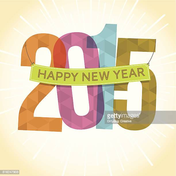 Happy New Year banner over 2015 with fireworks background