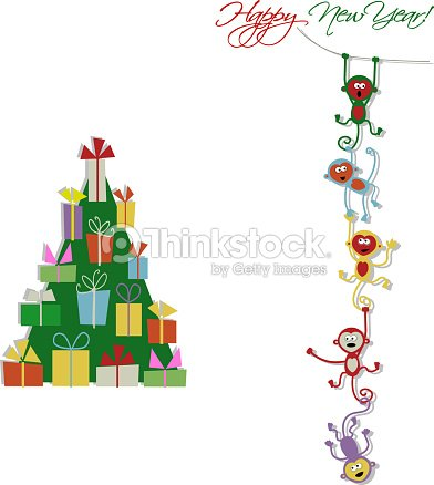 Happy New Year Card Design With Funny Monkeys Vector Art | Thinkstock