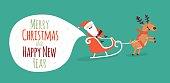 Happy New Year card. Santa's greetings. Vector illustration