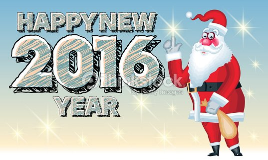 happy new year card with santa claus and sketch text vector art
