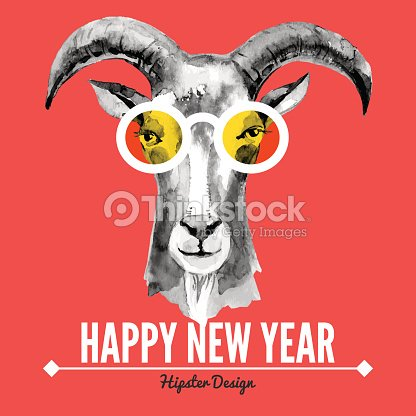 happy new year card with watercolor portrait of hipster goat vector art