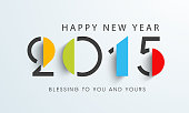 Happy New Year celebration with stylish text of 2015 on gray background, can be use as poster, banner or flyer.