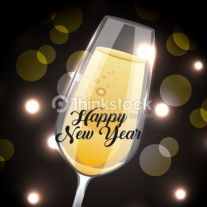happy new year champagne glass drink blurred background vector art