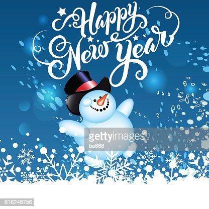 happy new year, christmas card, snowman : Arte vetorial