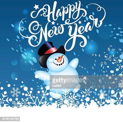 happy new year, christmas card, snowman : Arte vettoriale