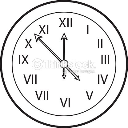Happy New Year Clock Countdown Five Minute Time Decoration