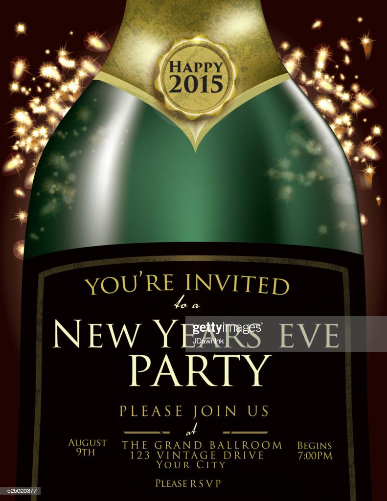 champagne bottle new year invitation