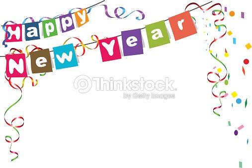 happy new year flags christmas garland and confetti vector art