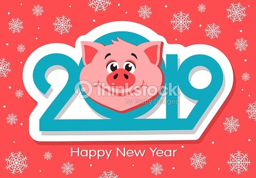 Happy new year greeting card design with cartoon pigs face on pink happy new year greeting card design with cartoon pigs face on pink background vector m4hsunfo