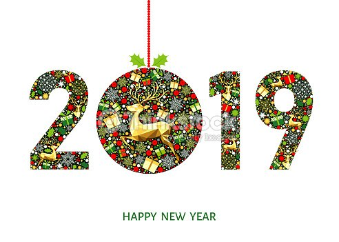 2019 Happy New Year Greeting Card With Christmas Ball Vector Art ...