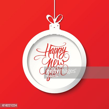 Happy New Year greeting card with christmas ball. : Arte vettoriale