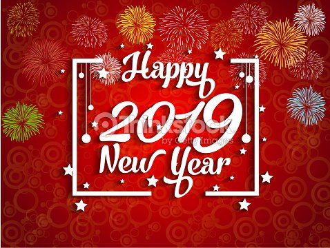 2019 happy new year greeting card with colorful fireworks vector design template vector