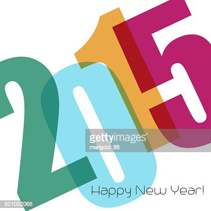 Happy new year greeting with number : Vector Art