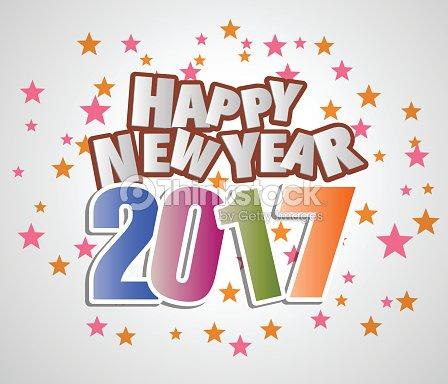 2017 Frohes Neues Jahr Gruß Wecken Karte Vektorgrafik | Thinkstock