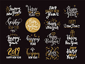 Happy New Year 2019 lettering. Handwritten label, badge, emblem, text design, golden festive symbols for new year congratulation card, banner, poster, flyer. Design vector templates set.