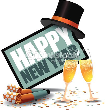 happy new year icon with party blowers and top hat vector art