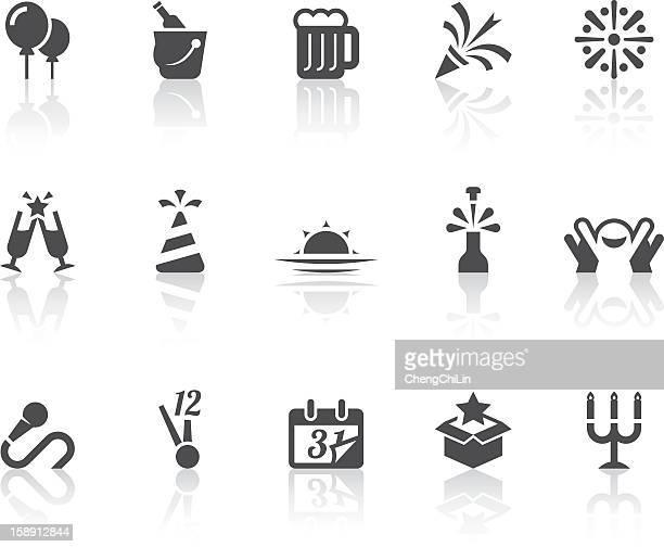 Frohes neues Jahr-Icons/einfache schwarz-Serie