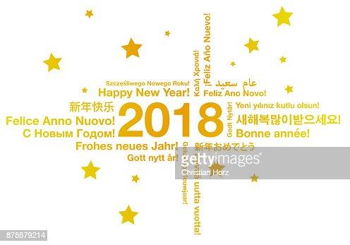 Feliz año nuevo en concepto de tarjeta de felicitación de diferentes idiomas : Arte vectorial