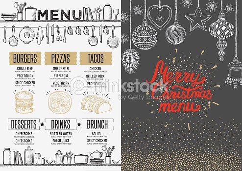 happy new year party invitation restaurant christmas food menu vector art