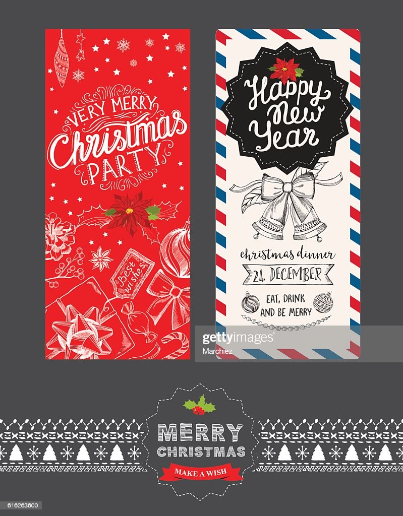 Happy new year party invitation restaurant. Christmas food menu. : Vector Art