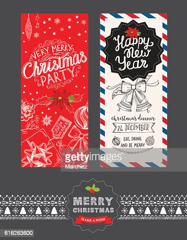 Happy new year party invitation restaurant. Christmas food menu. : Vector Art