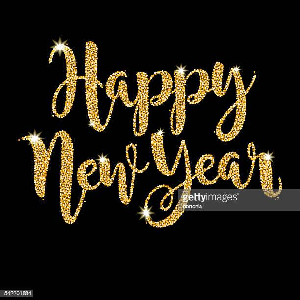 Happy New Year Script Message in Golden Glitter