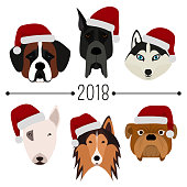 2018. Happy New Year. Set of 6 dog's head with santa claus cap. Flat design. Pets. Cute doggies. Icon or logo. Cartoon character. Animals. It can be used for card, calendar, banner. Vector, eps10