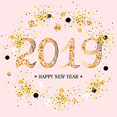 2019 Happy New Year text. 2019 celebration text on pink background with golden confetti.  Vector illustration isolated on background. Postcard motive.