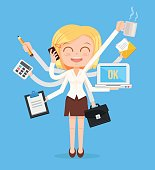 Happy office woman character. Multitasking hard work. Vector flat cartoon illustration