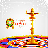 vector illustration of Happy Onam background for Festival of South India Kerala