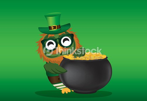 A happy owl with a pot of gold coins in a national costume and a happy owl with a pot of gold coins in a national costume and glasses for stopboris Choice Image