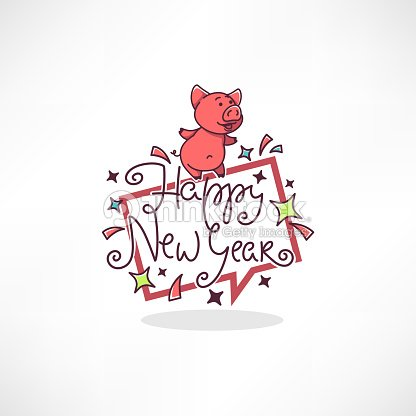 Happy Pig Chinese New Year Symbol Vector Image Of Cartoon Doodle Pig