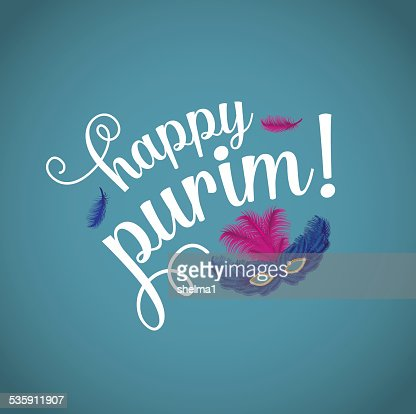 Happy Purim with feathered mask. : Vector Art