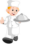 illustration of happy restaurant chef holding a metal food platter