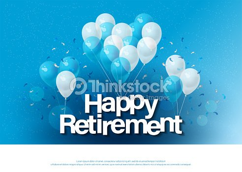 Happy retirement greeting card lettering template with balloon and happy retirement greeting card lettering template with balloon and confetti design for invitation card banner web header and flyer vector illustrator stopboris Image collections