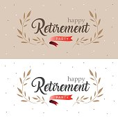 Happy Retirement Party Elegant logo design and  leaf decorated with red ribbon, vintage style
