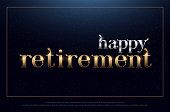 happy retirement party silver and golden on blue background. retirement symbol design for banner, card, t shirt or printing. vector illustration