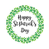 happy Saint Patricks Day in shamrock wreath vector graphic