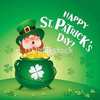 Glücklich Saint Patricks Tag Leprechaunkobold Auf Das Kleeblatt Feld ...