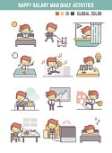 happy salary man daily life working day routine vector illustration outline character for infographic element