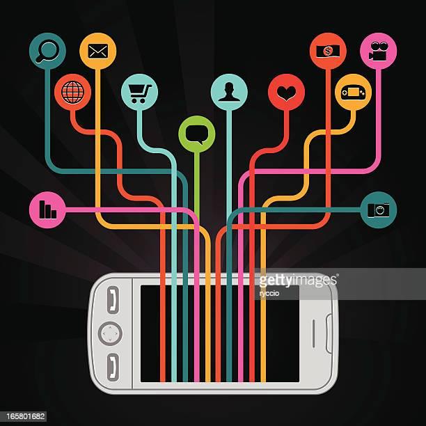 Happy smartphone with icons